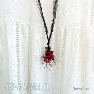 naszyjniki: Czerwone i czarne - długi naszyjnik - lekki
