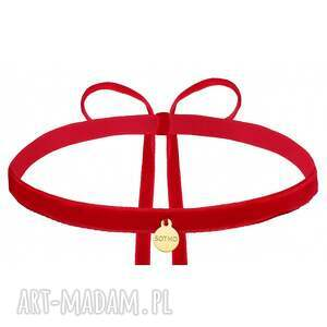 naszyjniki czerwony aksamitny choker ze złotą