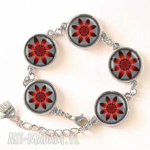 kwiat naszyjniki czerwone czerwony - medalion z