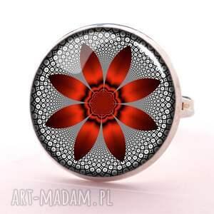 kwiat naszyjniki czerwony - medalion