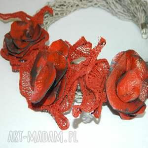 naszyjniki lniany naszyjnik czerwony