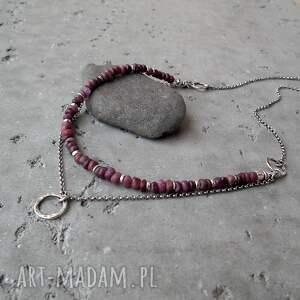 nietypowe naszyjniki surowy surowe rubiny i srebro - podwójny