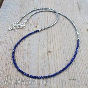niebieskie naszyjniki srebro delikatny naszyjnik z lapis lazuli