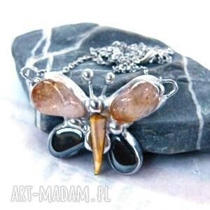 czarne naszyjniki motylek unikalny naszyjnik wykonany z kamieni