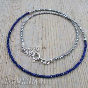 handmade naszyjniki srebro delikatny naszyjnik z lapis lazuli