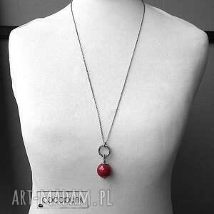 srebrny naszyjniki długi naszyjnik z kulą rubinowego