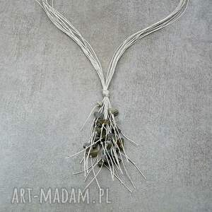 wyraziste naszyjniki wiszący naszyjnik ze sznurków naturalnego lnu: długi