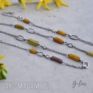 żółte naszyjniki długi naszyjnik surowy ze szkłem