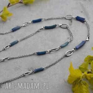 niebieskie naszyjniki szkło antyczne długi surowy naszyjnik ze szkłem