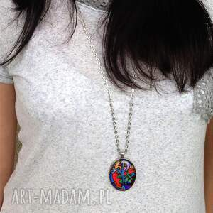 modne naszyjniki owal dmuchawiec - owalny medalion