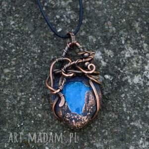 naszyjnik naszyjniki niebieskie drop - w surowym stylu