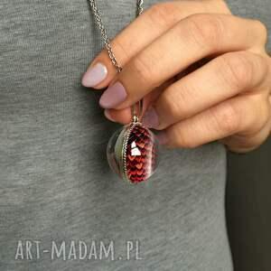 czerwone naszyjniki smocze dwustronny kulisty medalion