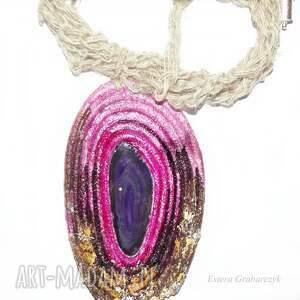 fioletowe naszyjniki wisior eko różowy naszyjnik