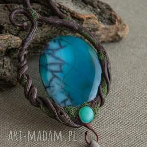 elfy niebieskie elficki naszyjnik ze smoczym agatem
