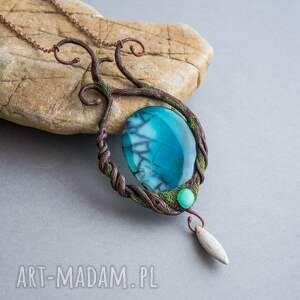 niebieskie naszyjniki las elficki naszyjnik ze smoczym agatem