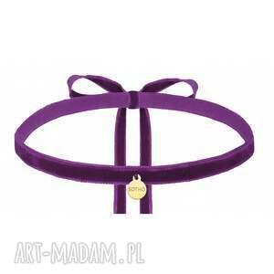 fioletowe naszyjniki modny fioletowy aksamitny choker ze złotą