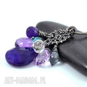 srebro naszyjniki fioletowe fiolety w oksydzie