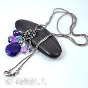 oryginalne naszyjniki srebro fiolety w oksydzie