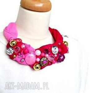 naszyjniki róż flamingo naszyjnik handmade