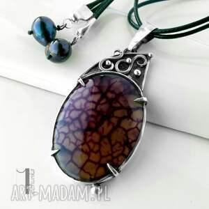 agat naszyjniki fioletowe flare srebrny naszyjnik z agatem