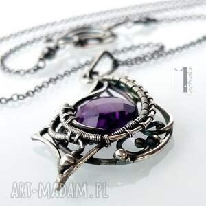 srebro naszyjniki fioletowe folium - srebrny naszyjnik