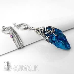 kwarc naszyjniki niebieskie frozen ii srebrny naszyjnik