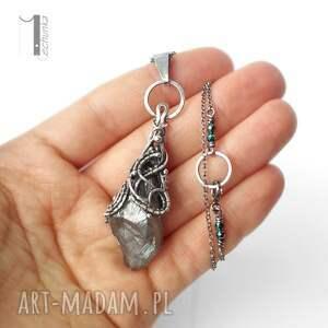 Frozen IV - srebrny naszyjnik z kwarcem tytanowym - Ręcznie robione prezent