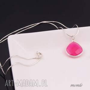 agat naszyjniki fuksja, srebrny wisiorek z różowym