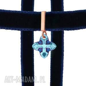naszyjniki naszyjnik granatowy choker z krzyżem