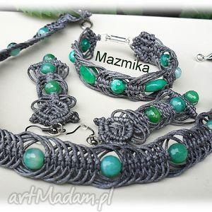 sznurek naszyjniki gray&green-naszyjnik makramowy