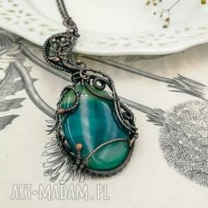 nietypowe naszyjniki zielony-agat green moon - naszyjnik z wisiorem