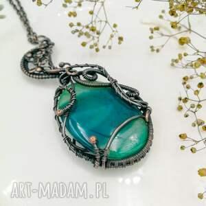 zielony-agat naszyjniki green moon - naszyjnik z wisiorem