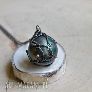 hand made naszyjniki naszyjnik z-kulą green sphere