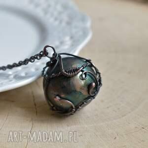 hand made naszyjniki zielona kula green sphere - naszyjnik