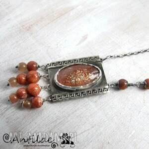 pomarańczowe naszyjniki naszyjnik groeg - kamień słoneczny, srebro