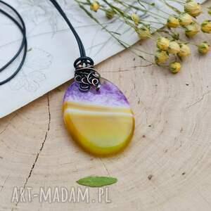 fioletowe naszyjniki agat naszyjnik z pięknym wisiorem stworzonym ręcznie