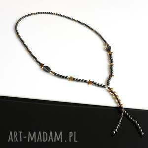 handmade naszyjniki hematyt czarno złoty