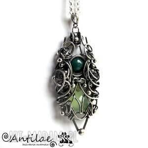 zielone naszyjniki naszyjnik hosto - chalcedon, onyks, srebro