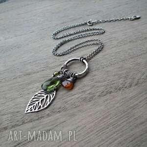 zielone naszyjniki geometryczny indiańska jesień - srebro, kwarc