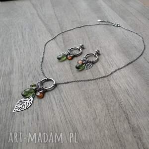 hand made naszyjniki oliwkowy indiańska jesień - srebro, kwarc