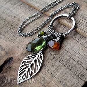 hand made naszyjniki z kamieniami indiańska jesień - srebro, kwarc