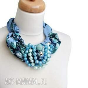 kolorowe niebieski indygo naszyjnik handmade