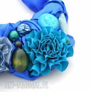 niebieski naszyjniki indygo naszyjnik handmade