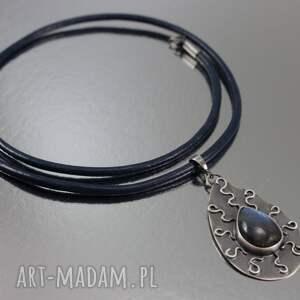 hand made naszyjniki labradoryt iskrzący i srebro