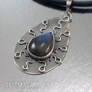 labradoryt naszyjniki niebieskie iskrzący i srebro