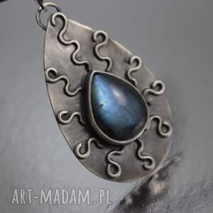 hand made naszyjniki wisior iskrzący labradoryt i srebro