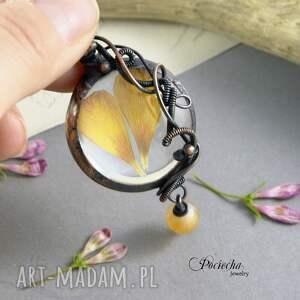 naszyjnik naszyjniki pomarańczowe jaskier - z płatkami