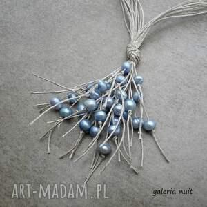niesztampowe naszyjniki perełki jasnoniebieskie perły - naszyjnik