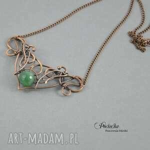 handmade naszyjniki retro jean - naszyjnik w zieleni z agatem