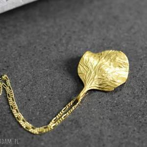 złote naszyjniki liść 925 jesienny pozłacany